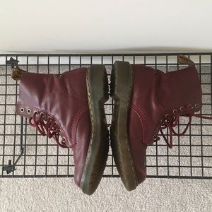 Red Doc Martens Combat Boots with Bouncing Soles